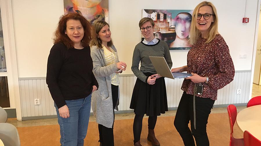 Irina Sadakova, Patricia Lendenius, Therese Wettler och Pia Huhtisaari, Sundbybergs vuxenutbildning.